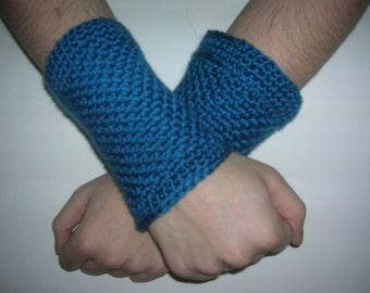 Fingerless Gloves, Arm Warmers, Wrist Cuffs, Teal Blue