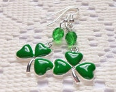 Shamrock Earrings, Irish Jewelry, St. Patrick's Day Jewelry, Lucky, Green Jewelry, Dangle Earrings, Beaded Earrings, Charms Jewelry