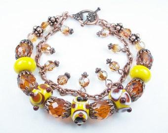 Lampwork Glass and Copper Bracelet - double strand, glass, Swarovski crystal, copper