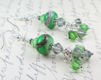 Lampwork Glass and Swarovski Crystal Earrings, Dangle Earrings, Cascade Earrings