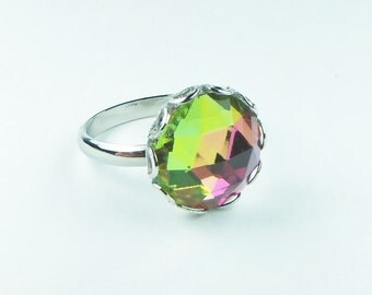 Vitrail Preciosa Crystal Ring, Fashion Ring, Multi-colored Ring, Adjustable Ring