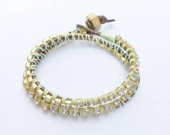 Leather Rhinestone Wrap Bracelet - double wrap, stacking bracelet, wrist bling, mint green, greek leather