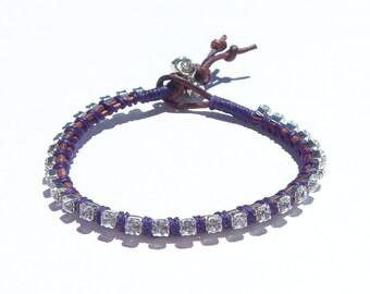 Leather Rhinestone Wrap Bracelet , Stacking Bracelet, Wrist Bling, Chic Jewelry