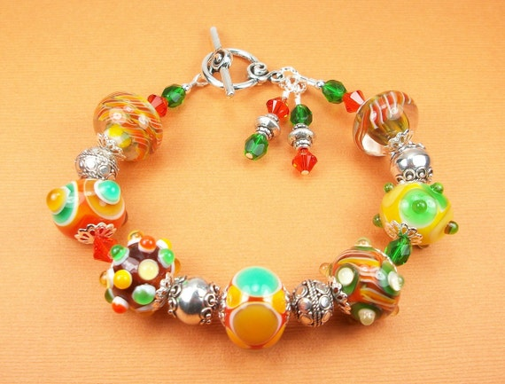 Lampwork Glass and Bali Sterling Silver Bracelet - orange, green, yellow