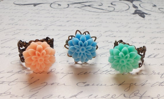 Trio of Dahlia Rings - adjustable, antique brass, vintage style