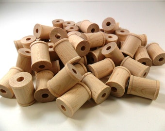 "25 Thread Spools 1"" H x 3/4"" Diameter Wood Unfinished"