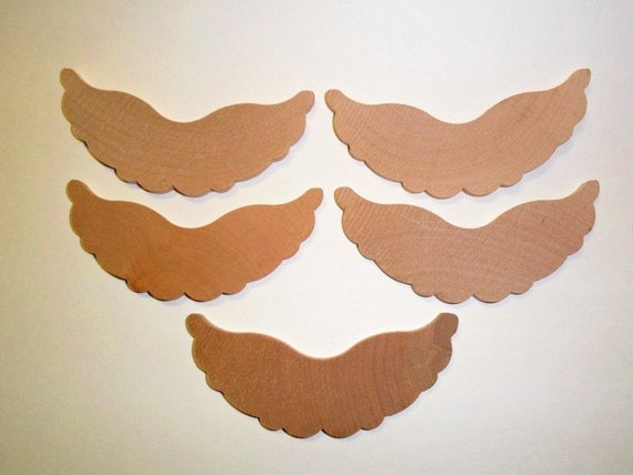 Angel Wings Wood 3-7/8 Inch 10 Pieces