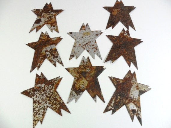 Stars Rusty Tin Cut Out 3 Inch 8 Pieces