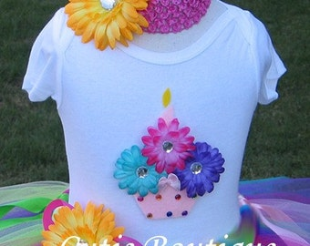 1st 2nd 3rd ... Rainbow CUPCAKE Birthday Set With TUTU And 3D CUPCAKE Shirt-- All Sizes 6 9 12 18 24 Months 2T 3T 4T---Birthday, Photo