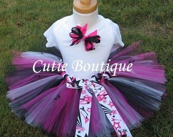 Rock Star Tutu Hair Clip Set----- All Sizes 6 9 12 18 24 Months 2T 3T 4T 5T----Birthday, Photo, Holidays, Dress Up