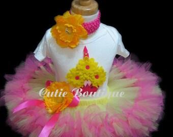 CUPCAKE Birthday Petti TUTU Set With 3D CUPCAKE Shirt -- All Sizes 6 9 12 18 24 Months 2T 3T 4T ---Birthday, Photo, Holidays, Dress Up