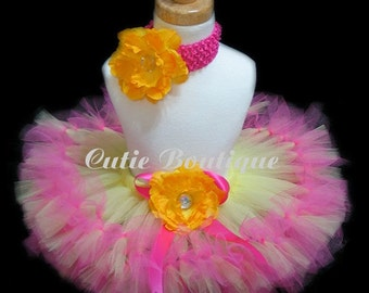 Banana Strawberry Petti Tutu Flower HEADBAND Set -- All Sizes 6 9 12 18 24 Months 2T 3T 4T---Birthday, Photo, Holidays, Dress Up