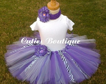 Purple ZEBRA Tutu Flower HEADBAND Set ----- All Sizes 6 9 12 18 24 Months 2T 3T 4T--------Birthday, Photo, Holidays, Dress Up