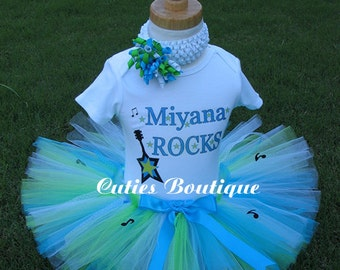 Rock Star PopStar Girls Birthday Outfit Set Personalized Shirt ----- All Sizes 6 9 12 18 24 Months 2T 3T 4T----Birthday, Photo, Holidays