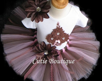 Pink Brown CUPCAKE Birthday Outfit With 3D CUPCAKE Shirt --All Sizes 6 9 12 18 24 Months 2T 3T 4T --Birthday, Photo, Holidays
