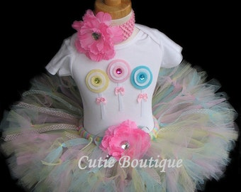 Pastel Rainbow LOLLIPOPS Birthday Outfit 3D LOLLIPOPS Shirt --All Sizes 6 9 12 18 24 Months 2T 3T 4T --Birthday, Photo, Holidays
