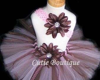 Pink Brown Tutu Flower HEADBAND Set -- All Sizes 6 9 12 18 24 Months 2T 3T 4T ---Birthday, Photo, Holidays, Dress Up