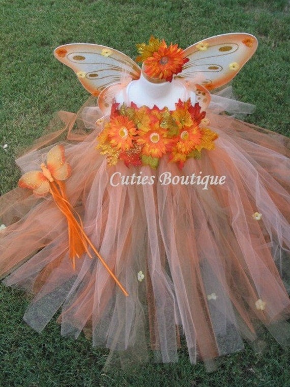 4pc Fall Fairy Princess Costume Size 2T, 3T, 4T, 5, 6... Perfect for Halloween, Portraits, Dress up, Party, Thanksgiving...