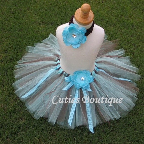 Blueberry Tutu Flower Headband Set ---------- All Sizes 6 9 12 18 24 Months 2T 3T 4T 5T--------- Birthday, Photo, Holidays, Dress Up