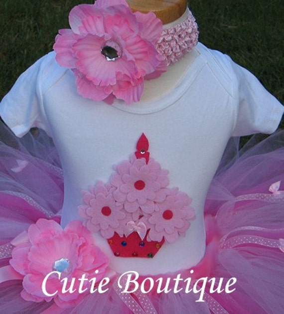 CUPCAKE Birthday TUTU Set With 3D CUPCAKE Shirt ------- All Sizes 6 9 12 18 24 Months 2T 3T 4T --------Birthday, Photo, Holidays, Dress Up