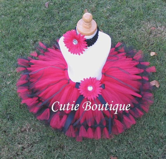 LADYBUG Petti Tutu Flower HEADBAND Set ------- All Sizes 6 9 12 18 24 Months 2T 3T 4T 5T--------Birthday, Photo, Holidays, Dress Up