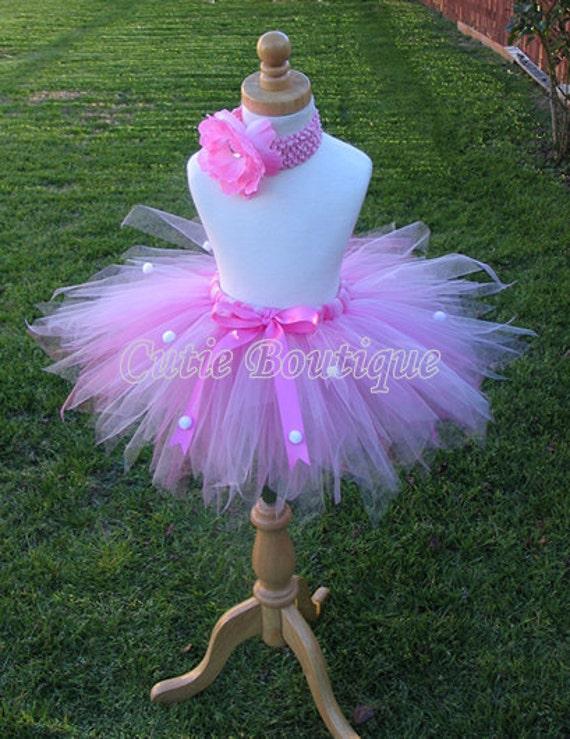 Pink Cotton Candy Tutu Flower HEADBAND Set ------- All Sizes 6 9 12 18 24 Months 2T 3T 4T 5T--------Birthday, Photo, Holidays, Dress Up