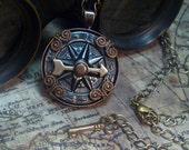 Airship Navigator Steampunk antique compass necklace- N002