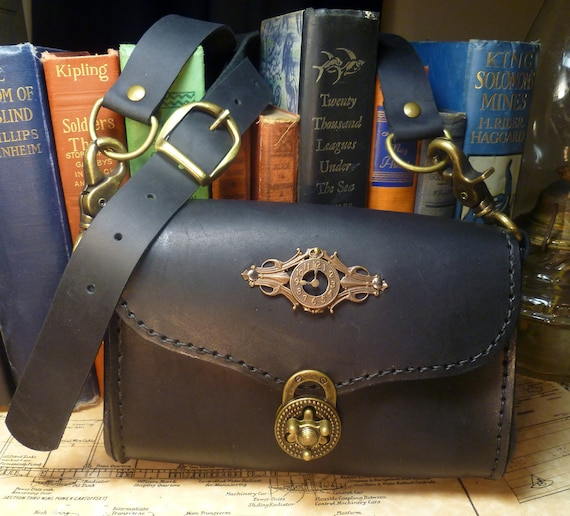 Steampunk goggle case/bag in gorgeous black leather
