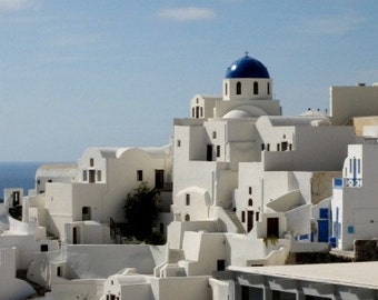 Greece, Santorini Fira Town Photographs. Set of 4 Travel Note Cards, Gifts for Her Under 15