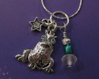 A Frog Prince. Swarovski Elements Charm Necklace on Sterling Silver Chain. Gift for Teen, Crystal Star, Gift Under 50. Accessory. Jewelry