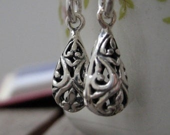 Sterling Silver Jewelry,  Fleur De Lis Tear Drop Earrings. Gift For Her. Gift Under 25. Mothers Day Gift