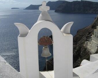 Santorini Greece Travel Photo, Greek Bell Tower Picture, Fine Art Photograph 8 x 10