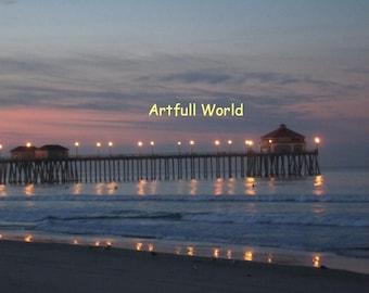 Huntington Beach Pier at Sunrise, Seascape Fine Art Photograph 8x10 closeup