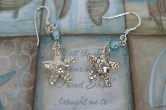 Dangling Starfish Earrings with Blue Beads