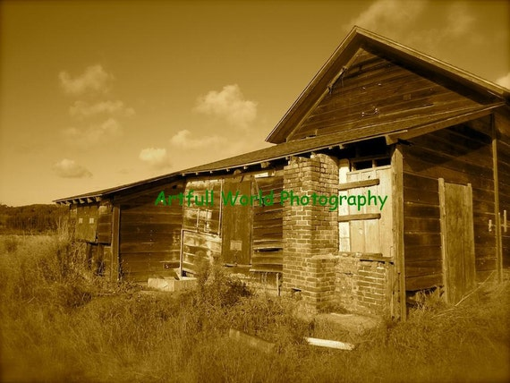 The Abandoned Home - Sepia Fine Art Photograph 11 x 14, Picture, Apartment Decor