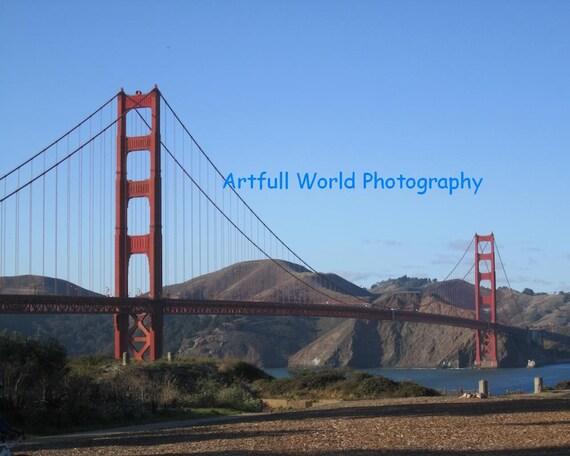 Golden Gate Bridge, Presidio Beach, Original Photograph 8 x 10, San Francisco Travel Picture, Red Wall Art, Home Decor, Gift Under 20