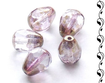 4 fire polished drops 13x10mm light amethyst/gold luster