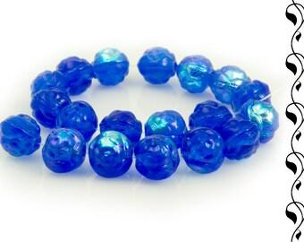 Czech Glass Rosebuds 7 mm Dark Blue or Vinous-White 10 pcs