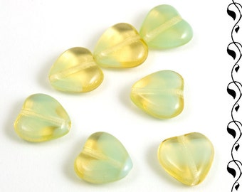 Czech Glass Givre Hearts 10mm Yellow 10 pcs