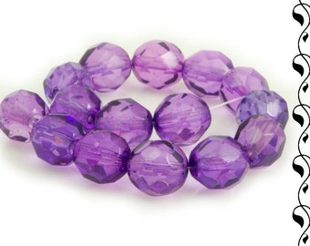 Czech Fire Polished Beads 8 mm Violet 10 pcs