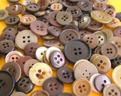 100 Buttons - Brown, small to medium mixed - sewing, scrapbooking