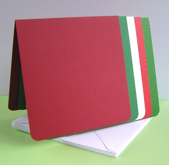 Greeting Card Blanks x 5 - Christmas red, green and white - large square, rounded corners
