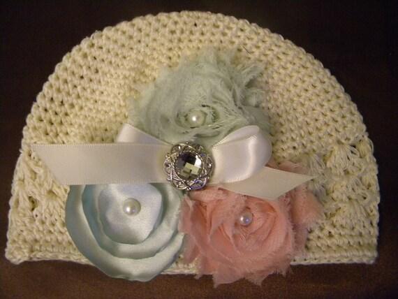 Vintage inspired ivory baby hat - pink mint green chiffon & satin singed- crochet infant hat - baby hat -  0-3m newborn hat- photo prop