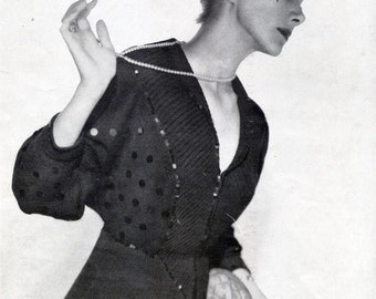 Vintage knitting pattern  pull over 1940 for women, kimono style