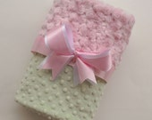 Adorable Pink and Sage minky dot blanket - by The Sleeping Babe