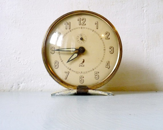 Art deco large french alarm clock by rhubarbandapples on etsy Art deco alarm clocks