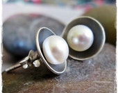 Pearl Cup Stud Earrings in Brushed & Oxidized Sterling Silver