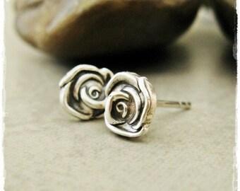 Tiny Fine Silver Rosebud Studs on Sterling Silver Posts