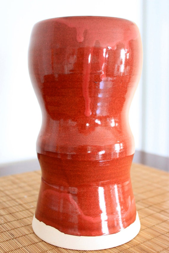 Tall Red Pillar Candle Holder