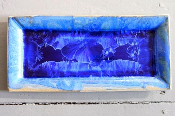 Rectangular Tray in Cobalt Crystalline